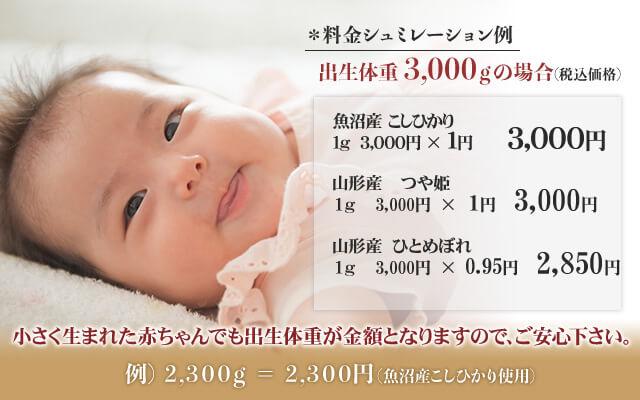 出産内祝い体重米の価格例